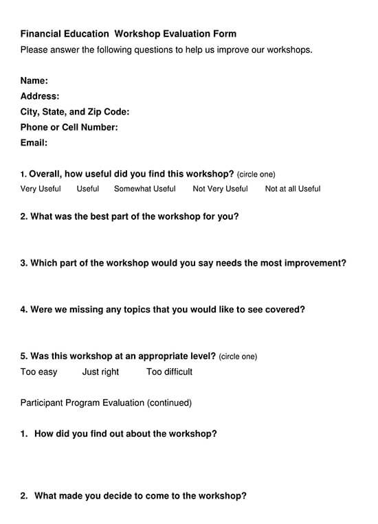 feedback format for workshop