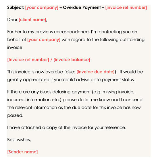 First Overdue Payment Reminder Template