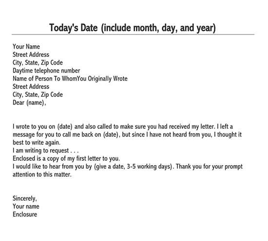 business follow up letter sample