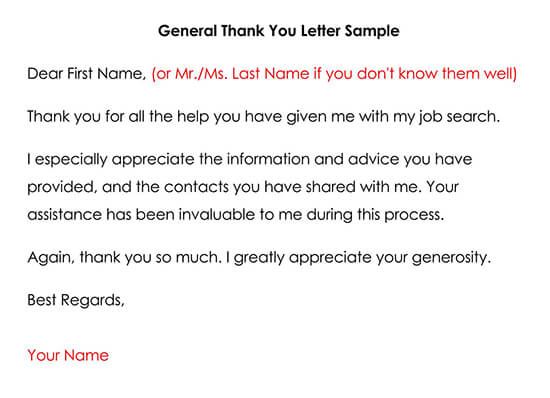 General Thank You Letter Sample