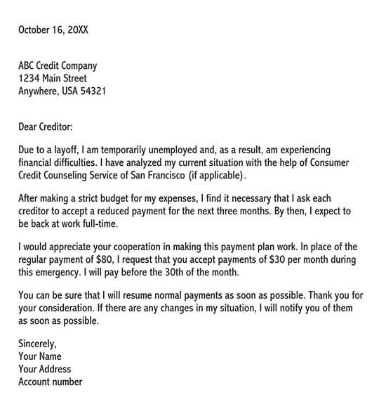 hardship letter to creditors