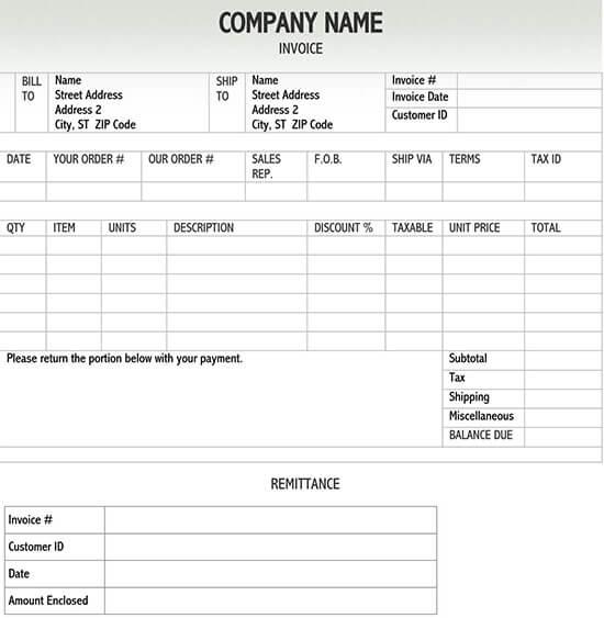 invoice template docx