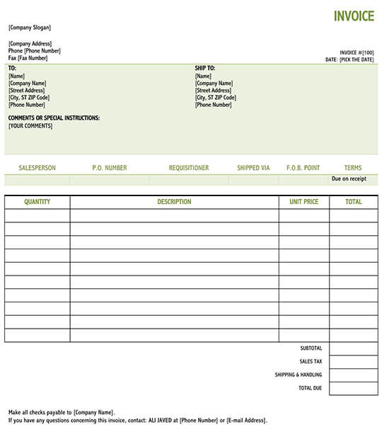 blank invoice template excel 01