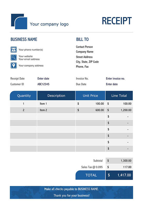itemized receipt template excel 01