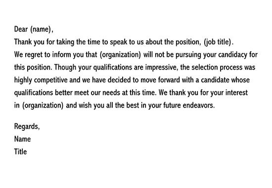 applicant rejection letter after interview