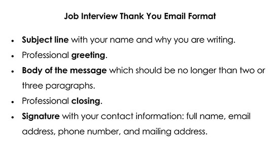 Job Interview Thank You Email Format