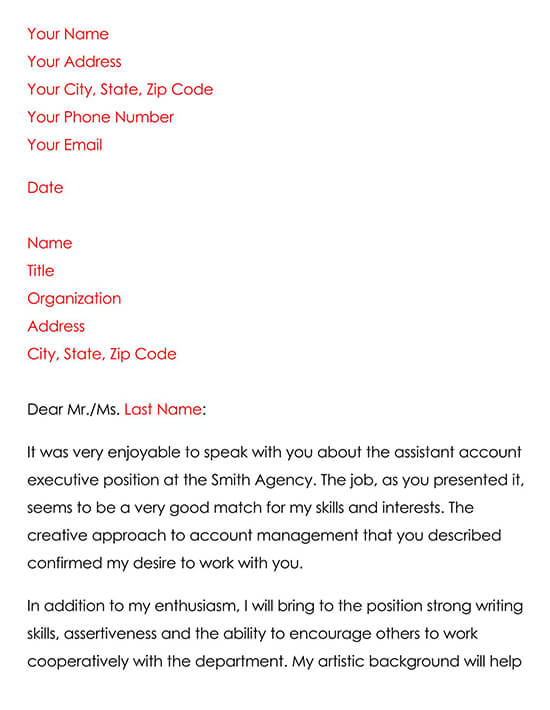 Job Interview Thank You Letter Sample 01