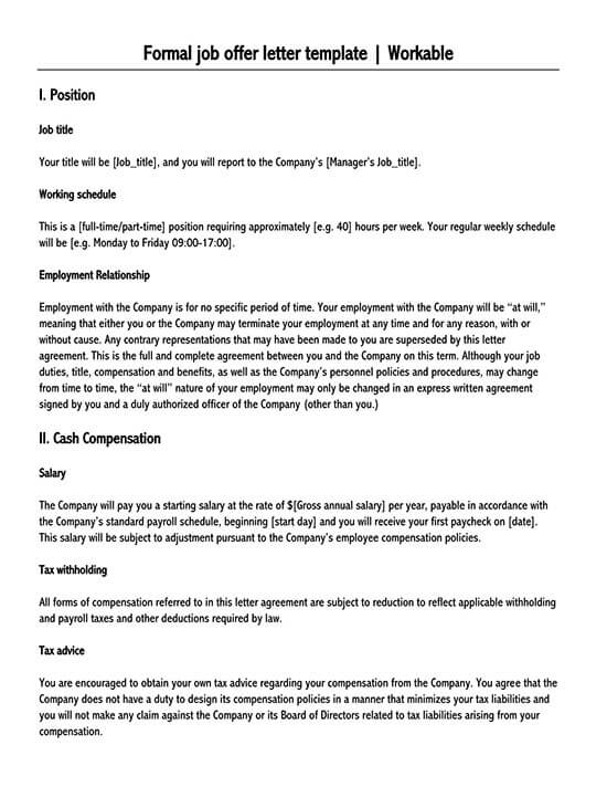 contract to hire offer letter sample