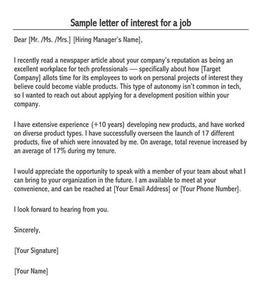 free expression of interest template download