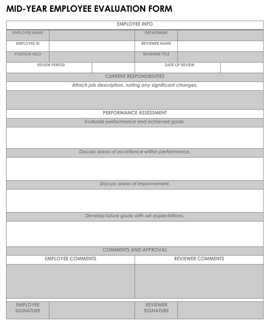 MID-YEAR EMPLOYEE EVALUATION FORM