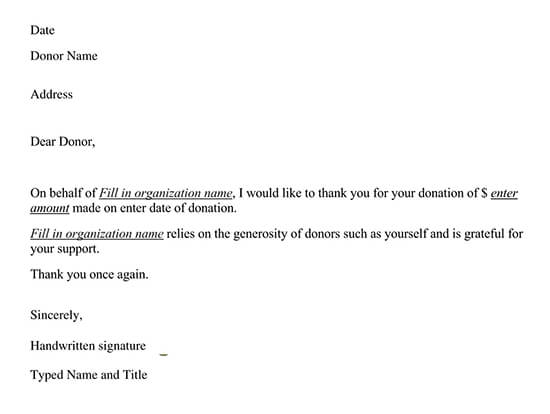 Monetary Contribution Thank You Letter