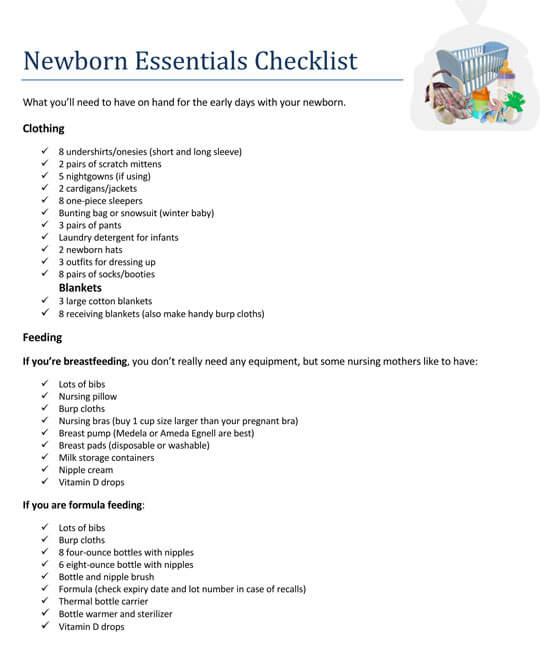Baby Checklist Format