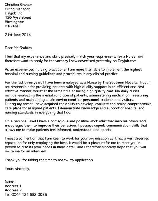 Application Letter For Staff Nurse