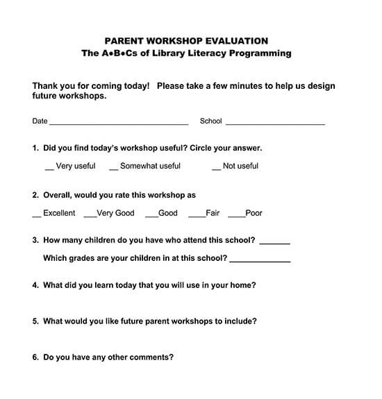 feedback form for workshop sample