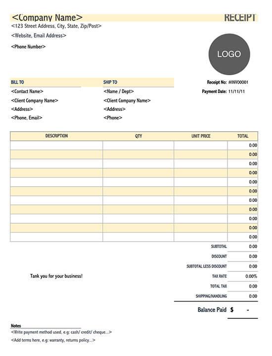 receipt of payment