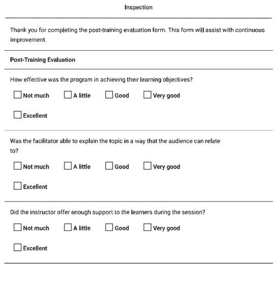Post-training Evaluation Form Checklist