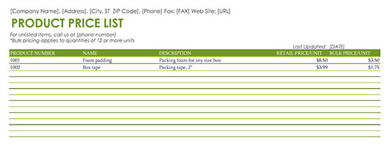 Price List Excel Template 07