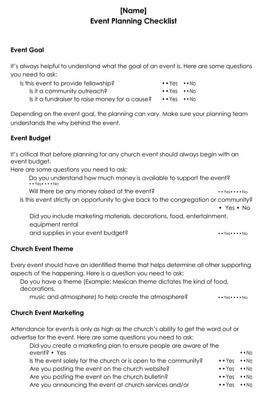 Printable Event Planning Checklist Template