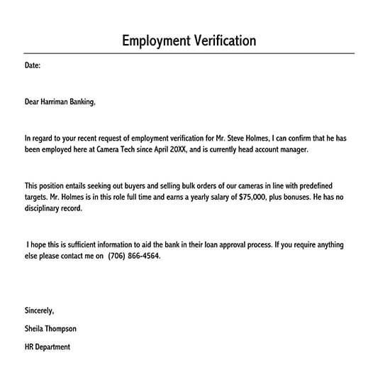 employment verification letter pdf