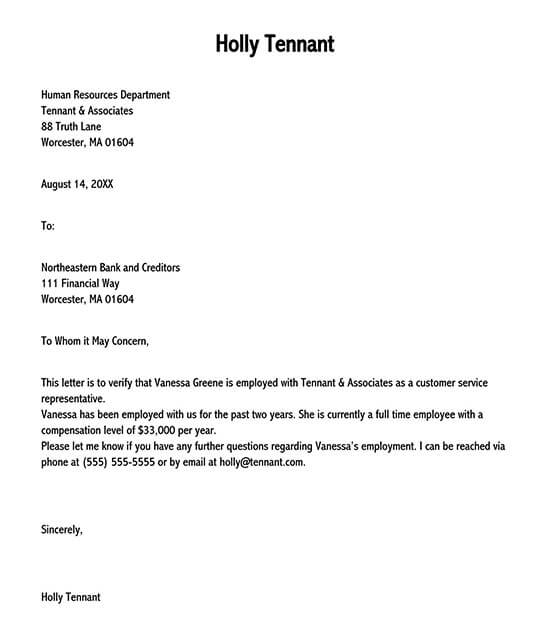 previous employment verification letter