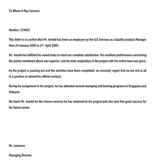 letter of employment sample 01