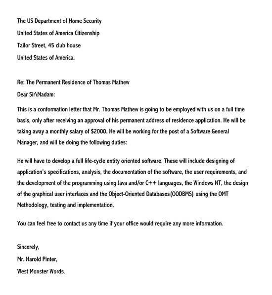 employment verification letter for visa 01