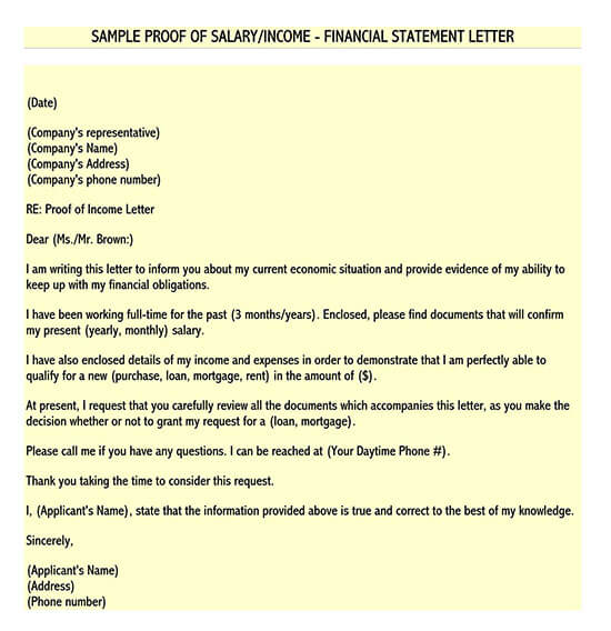 how do i write a proof of income letter
