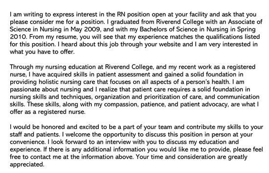 Sample Application Letter For Newly Registered Nurses