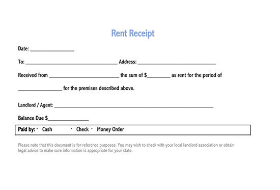 free rent receipt template word india