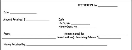 rent receipt letter