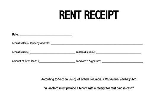 rent receipt template ontario