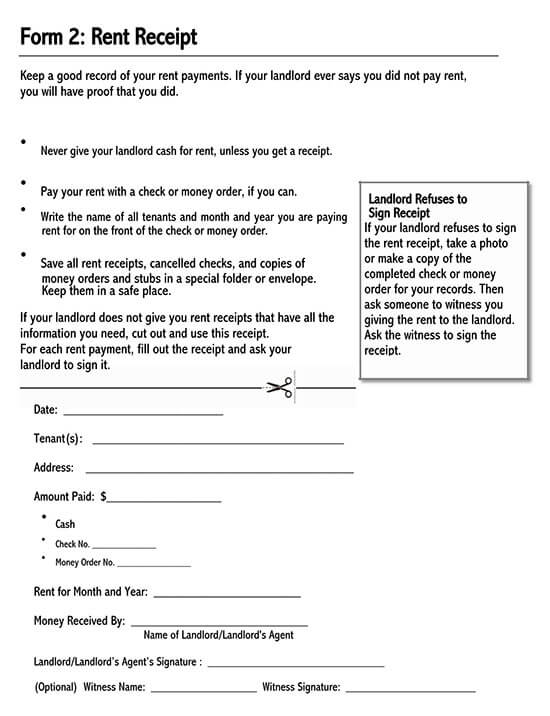 fillable rent receipt template