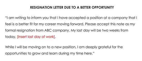 Resignation Letter Due to A Better Opportunity