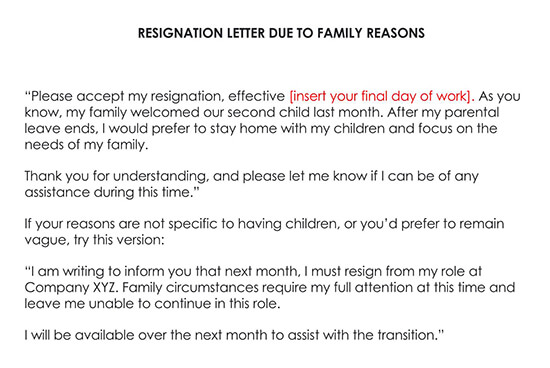 Resignation Letter Due to Family Reasons