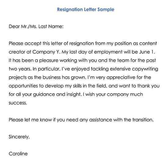 Resignation Letter Sample 02