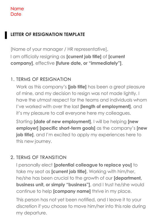 Resignation Letter Template 02