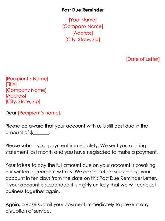 Sample Past Due Reminder Letter