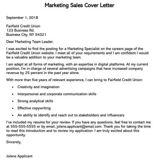 Sample Sales Cover Letter (Doc Version)