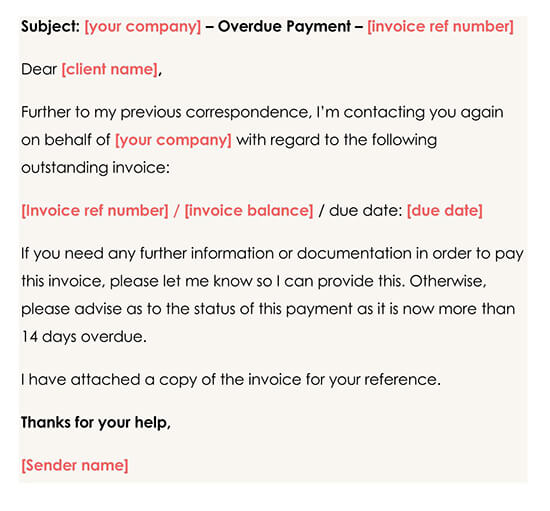Second Overdue Payment Reminder Template