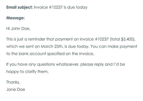 Second Payment Reminder Email On the Day the Payment Is Due