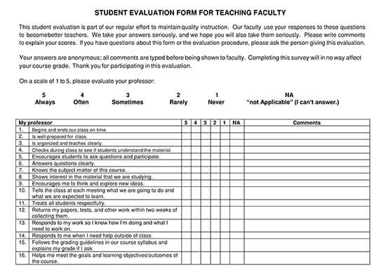student evaluation form pdf