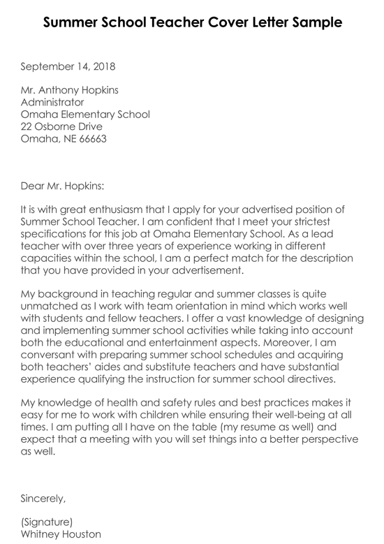 Summer School Teacher Cover Letter Sample