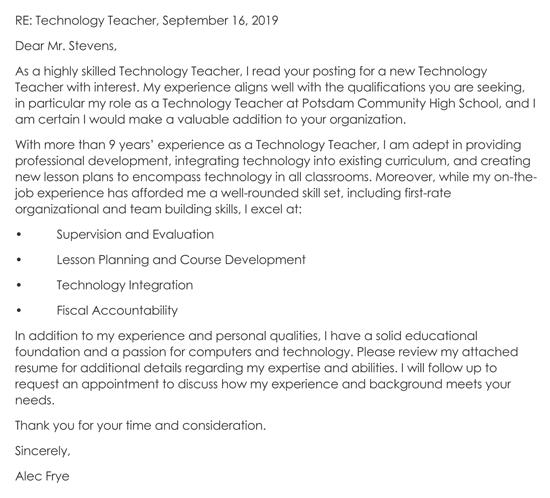 Technology Teacher Cover Letter Example