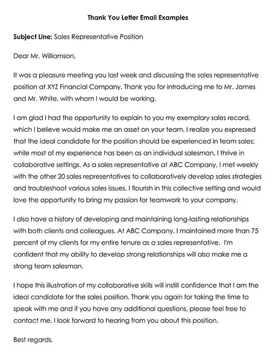 Thank You Letter Email Example