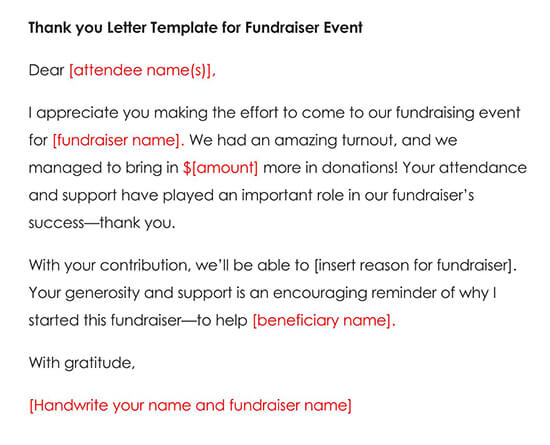 Thank You Letter Template for Fundraiser Event Attendance