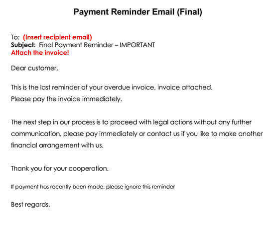 The Final Payment Reminder via Email