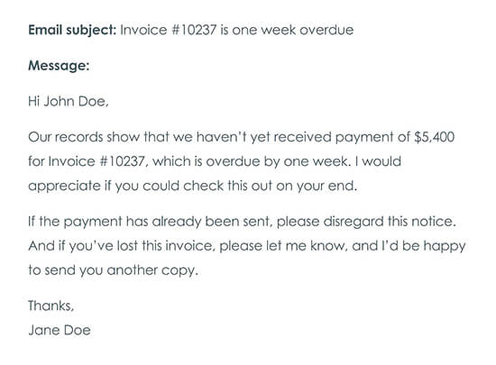 Third Payment Reminder Email One Week After Late Payment Was Due