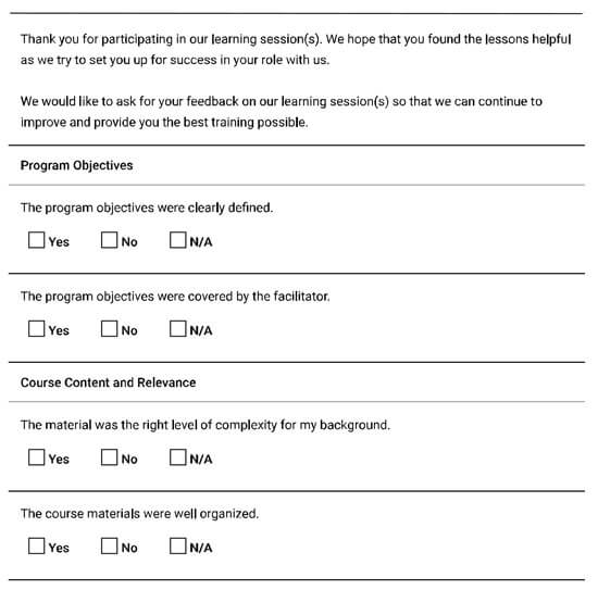 Training Feedback Form Checklist
