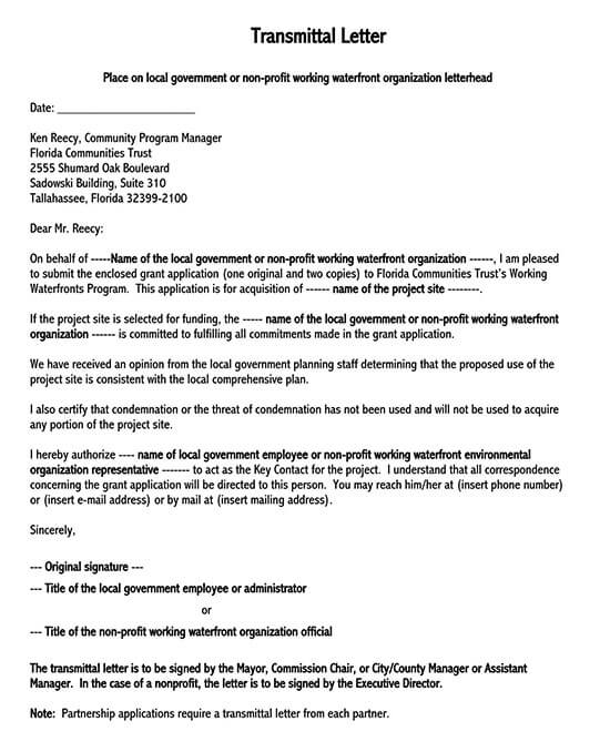 letter of transmittal template google docs