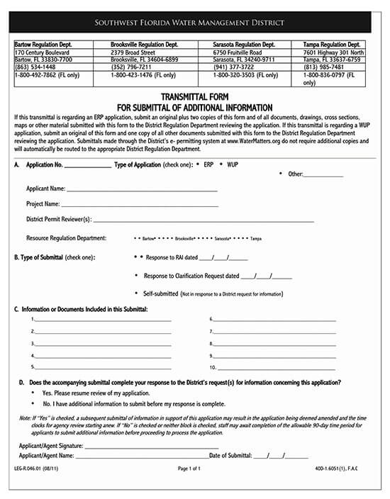 material transmittal form template 02